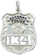 Custom shield shaped mini badge and badge jewelry sterling silver custom 3d mini badge jewelry pendant design of bayonne nj police officer mozeypictures Choice Image